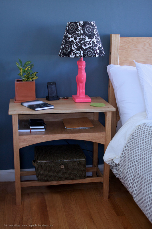 Aaron Henry Rose AHR Carpentry and Design Custom Woodwork Remodel Architecture UTSOA University of Texas Austin Oak Bedside Table Headboard Detail