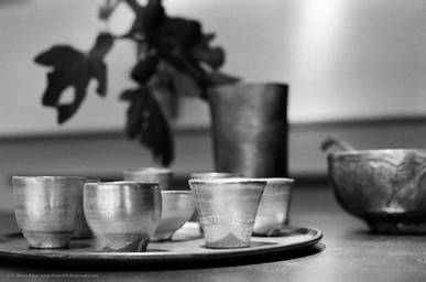 季の雲長浜 Silver-glazed ceramic cups prepared for tea ceremony at Toki-no-Kumo in Nagahama. 35mm film, Aaron Henry Rose, UTSOA.