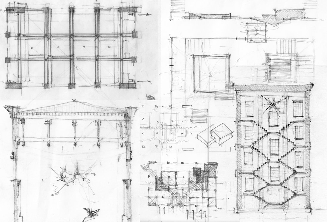 Pencil Drawing Sketch by Masters of Architecture Student Henry Rose at UTSOA University of Texas Austin School of Architecture showing structure, plan, elevation, Chicago style high rise, factory, brick